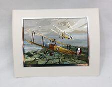 Vintage John Berkey Avro 504k Defending Against Zeppelins 1918 Foil Etch Print