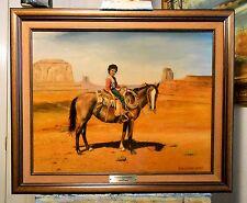 NAVAJO INDIAN BOY ON HORSEBACK by Richard R. Nervig