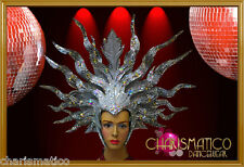 CHARISMATICO Elegant Silver Mask Drag Queen Futuristic Triple Horn Headdress
