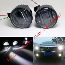 2x White LED Projector Fog Lamps w/ DRL Lights For Infiniti EX35/EX37/QX50 08-13