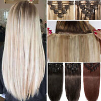 Extra THICK Clip In Remy Real Human Hair Extensions Full Head Double Wefted