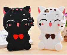 3D Cute Lucky Cat Soft Silicone Back Case Cover For Smartphones Protector Skins