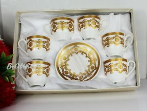 12 Piece Turkish/Arabic White & Gold Tea & Saucers Set For Mother's Day Gift Box