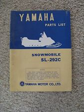 Rare Yamaha Snowmobile Parts List Manual for SL-292C