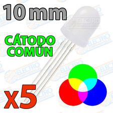 5x LED 10mm RGB Difuso Catodo comun tricolor red green blue rojo verde azul 4