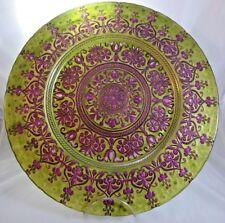 "Large Round Glass Platter Lime Green & Purple Metallic 15.5"" Scalloped Edge"