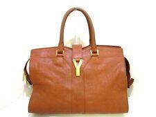 Auth Yves Saint Laurent rivegauche (YSL) Cabas Chyc 311220 Brown Leather Handbag