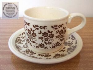 VINTAGE ENGLISH STAFFORDSHIRE CHINA BILTONS IRONSTONE CUP & SAUCER Brown Flowers