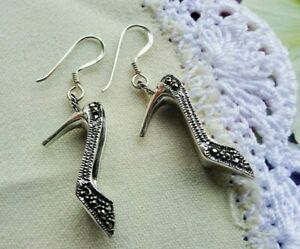 My S Collection 925 Sterling Silver & Marcasite High Heels Drop Earrings
