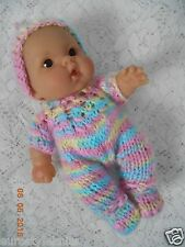 "Doll Clothes Hand-knit Multicolor Footed Romper Fits 7"" to 8"" Baby Berenguer"