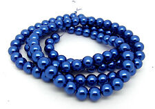 110 Blue Glass Imitation Pearl 8mm Round Beads One Strand J11401XG