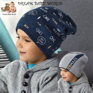Reversible BEANIE boys hat winter warm autumn Knitted BOY KIDS 3-6 years CAP