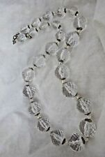 Vintage Clear Lucite Faceted Ball Bead Necklace Icy Glass Like Chunky Retro