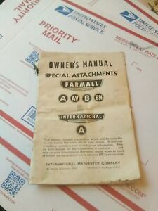 International Farmall A AV  B BN tractor operator manual special attatchments