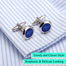 Stainless Steel Copper Blue Gem Radial Round Shape Formal Wedding Cufflink