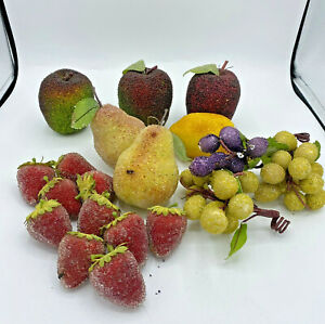 Beaded Sugared Vintage Faux Fruit Apples Pears Grapes Lemon Strawberries