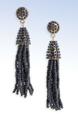 Tassel Drop Earrings Bp Gold-tone Gray Beaded