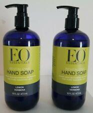 EO Essential Liquid Hand Soap Pump Organic Moisturizing Lemon Verbena 16 Oz x 2
