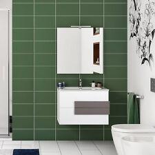Mobile bagno moderno 60 cm bianco laccato con maniglie lucido tortora + specchio