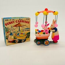 1970s Tin & Celluloid Wind Up Toy Easter Bunny Rabbit Pushing Carriage Box Japan