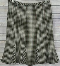 TALBOTS Petites ALine Micro Plaid Trumpet Ruffle Lined Skirt Sz 10 Autumn Colors