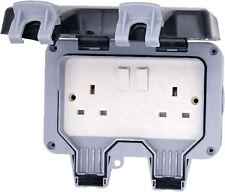 Weatherproof IP66 Outdoor WP22 13A 2 Switched Double Socket 2G Twin Storm WP22