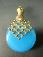 Antique French turquoise Opaline Scent Perfume Bottle