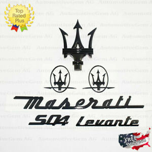 Maserati Emblem Levante SQ4 Grille Trident Side Logo Black Badge Set Sticker Kit