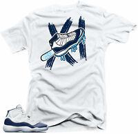 Shirt to Match Jordan 11 Navy Win Like 82- Ice White Tee