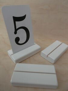 10 White Table Number holders, Wood place card holders for Weddings