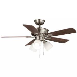 Hampton Bay Vaurgas 44 in. LED Indoor Brushed Nickel Ceiling Fan with Light Kit