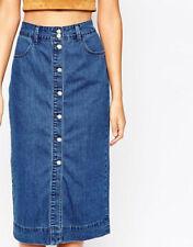 Denim Straight, Pencil No Pattern Regular Skirts for Women