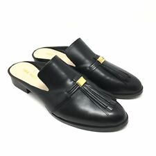 Women's NEW Nine West Huebart Mules Clogs Shoe Size 8M Black Leather Tassels W10