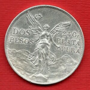 1921 MEXICO DOS PESOS SILVER COIN. INDEPENDENCE CENTENARY. VICTORY ANGEL. 2 P.