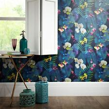 TROPICS PINDORAMA WALLPAPER - NAVY - ARTHOUSE 690101 FLORAL PALM NEW