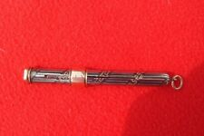 PUSH IN & OUT SILVER LINED ON BLACK LACQUER & GOLD LADY'S PENCIL WITH RING TOP