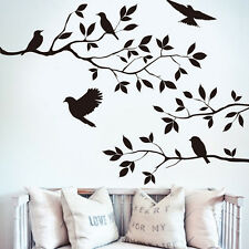 Removable Wall Sticker Decal Trees and Birds Vinyl Room Home Decor DIY Black  US
