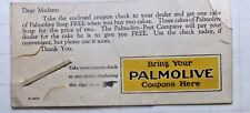 1925 Blotter Size Card for Holding a Palmolive Soap Coupon