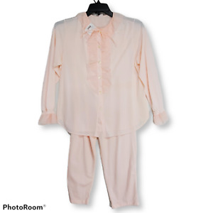Vintage Sears Pink Nylon Pajama Set Sz 38 Top & Pants Button Front Ruffle Trim