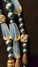 VINTAGE CUSTOM MADE BLuE Pearl gold  BEADED NECKLACE, TRIPLE STRAND w/ PENDANT