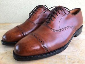 Allen Edmonds Byron 9.5 D Oxfords New Soles & Heels Captoe Brogues Brown Cognac