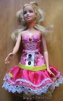 Barbie doll blonde hair summer skirt pink fairy shoes straight arms painted body