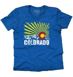 Colorado Flag Rocky Mountains Vacation Gift Adult V Neck Short Sleeve T Shirts