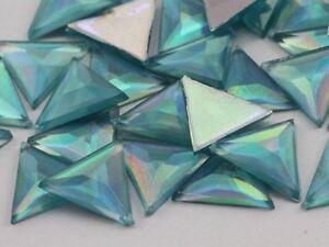 13mm Blue Aqua Lite AB Flat Back Triangle Acrylic Gemstones - 50 Pieces