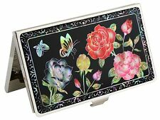 Mother of Pearl Business Credit ID Card Case Holder rose flower design #06