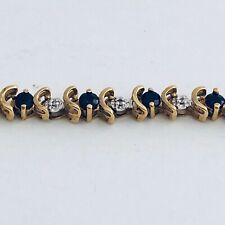 "10K Solid Gold 2.75 CT. Genuine & Natural Sapphire & Diamond 7"" Tennis Bracelet"