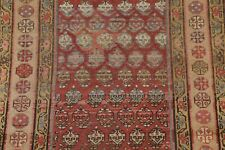 Pre-1900 Antique Vegetable Dye Boteh Design Malayer Kazak Runner Rug Wool 3'x8'