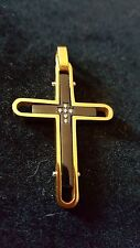 Black and Gold IP Cross with CZ Stainless Steel Pendant Mens or Ladies