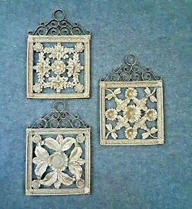 Set of 3 Wall Plaque Decor Antique Bronze Resin Dragonfly Flowers 11 x 8