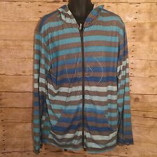 Burton Dryride Blue Grey Striped Lightweight Polyester Mens Hooded Jacket Large